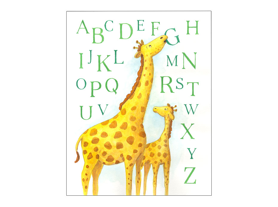 watercolor illustration of mother giraffe and her baby in an alphabet