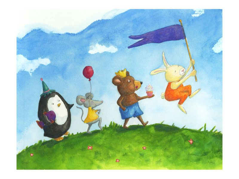 a parade of a penguin, mouse, bear, and rabbit on their way to a birthday party
