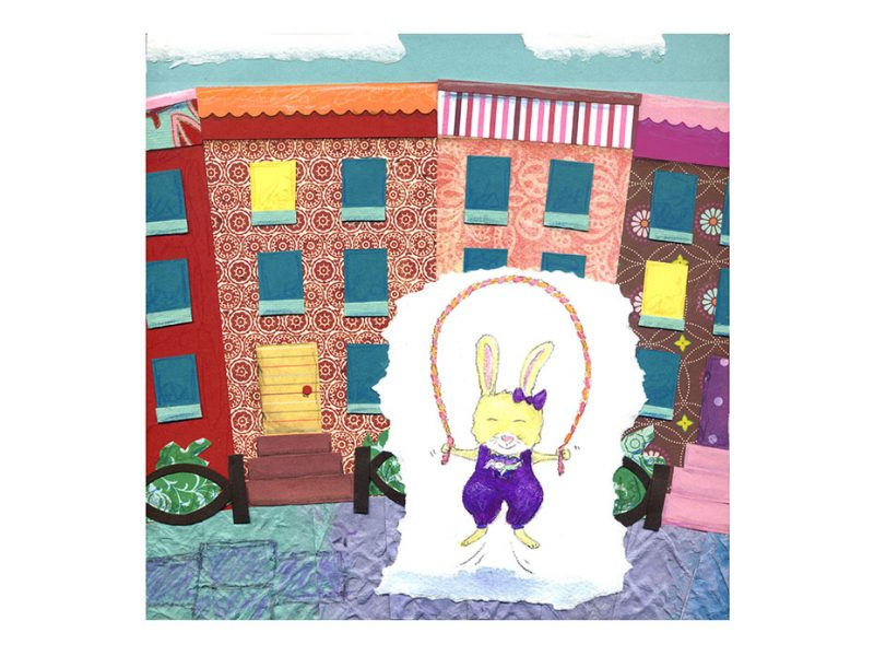 paper collage and watercolor of a bunny jumping rope in front of paper row houses