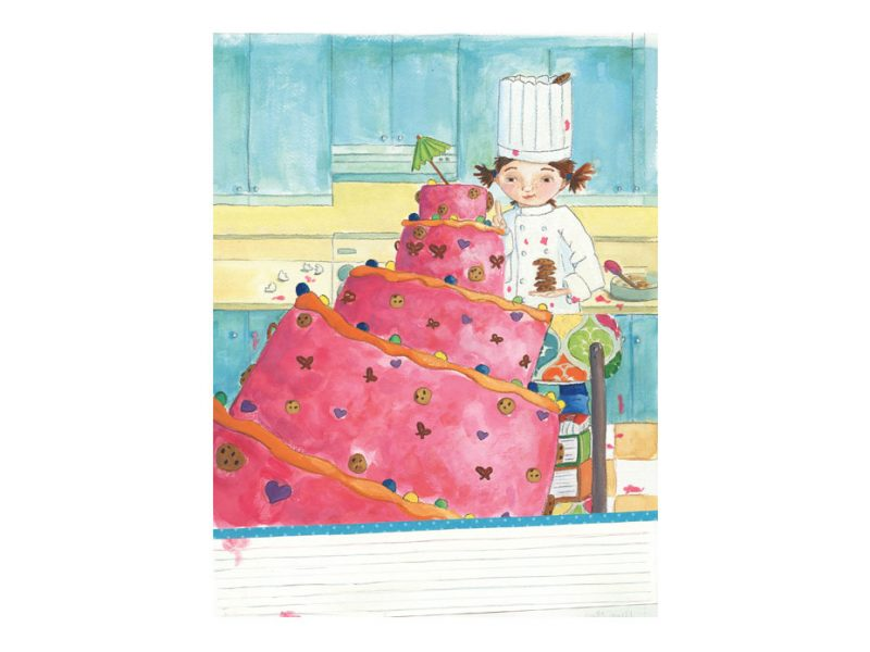 large pink cake with little girl baker illustration by Abby Dening
