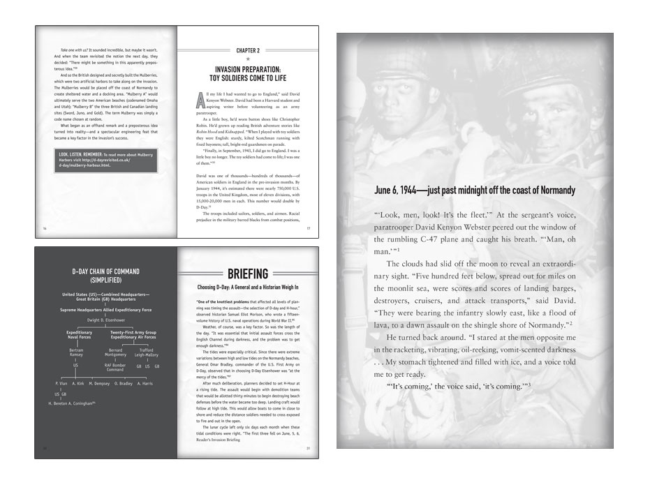 interior book design layout for D-Day book