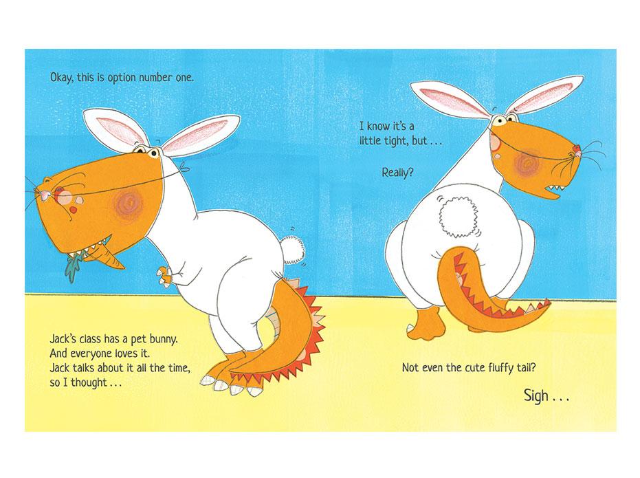 Dexter the dinosaur in a rabbit costume