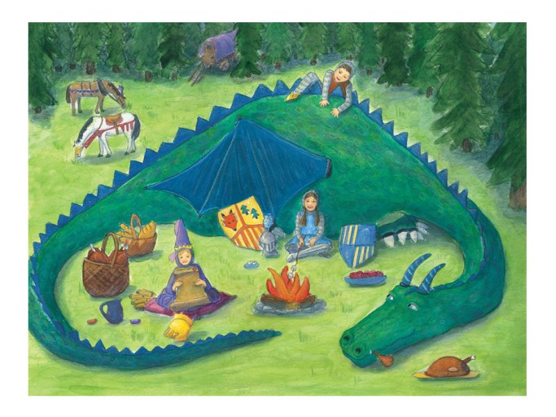 watercolor illustration of a large green dragon and 3 kids having a picnic