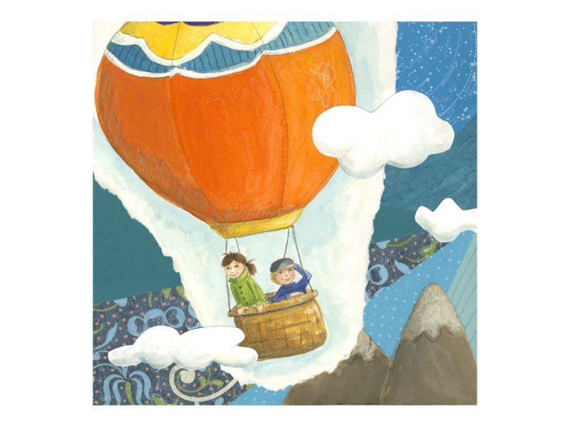 illustration and paper collage of a girl and boy in orange hot hair balloon