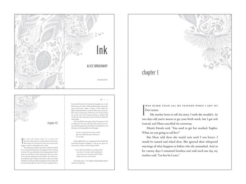 interior book design layout for novel called Ink