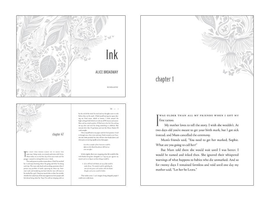interior book design layout for novel called Ink