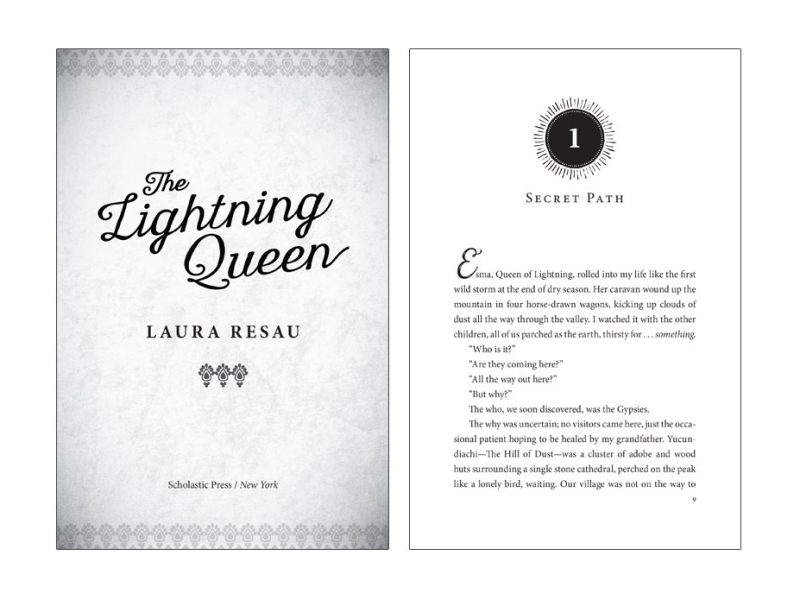 middle grade title page and chapter opener of The Lightening Queen