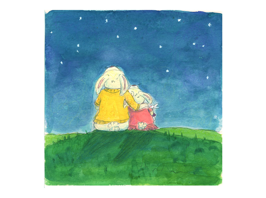 children's illustration of 2 bunnies looking up at night sky