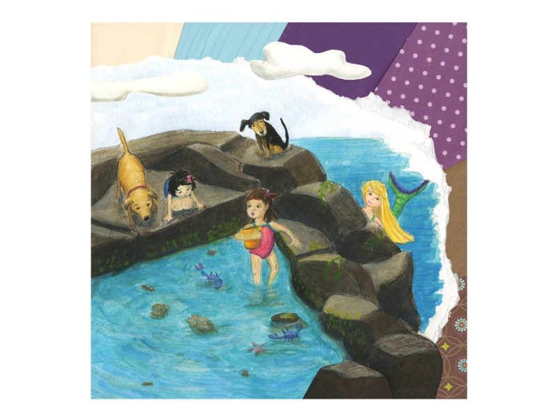 watercolor and collage painting on little girl in tide pool with mermaid looking on