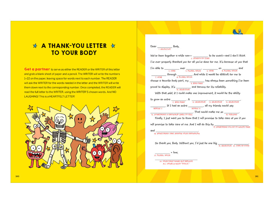 mad lib style thank you letter to your body