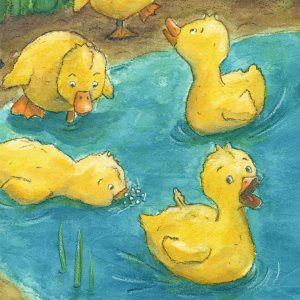 yellow ducklings on pond in watercolor